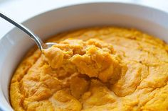 Carrot Soufflé ~ Easy-to-make carrot soufflé with carrots, milk, saltines, cheddar cheese, butter, and eggs. ~ SimplyRecipes.com
