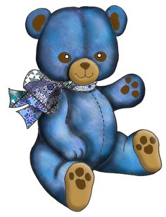 ArtbyJean - Paper Crafts: DOLLS, TOYS, PARTY, BALLOONS - Set A24 - Blue Patchwork - A collection of clip art prints with patchwork patterns in shades of blue - CRAFTY CLIP ART - For digital arts, collage, crafts, decoupage, cards and scrapbooks.