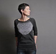 Eco Fashion Charcoal Sweatshirt for Women   Modern by sealmaiden