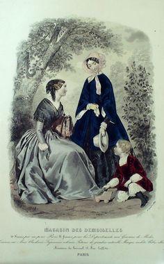 October 1849  ++++++++++  GRAVURE de MODE AUTHENTIQUE-X162-MAGASIN DEMOISELLES-ROBES EN VELOURS-1849