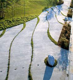 Betonggång med växtsprickor