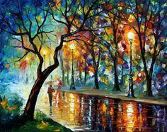 """Leonid Afremov é um pintor israelense de origem bielorrussa. Conhecido por seus quadros coloridos, alegres e por sua técnica de pintura peculiar: uso de espátula para pintura com tinta a óleo, geralmente usada apenas para limpar a tinta das paletas e telas.  Suas pinturas são descritas como """"positivas"""" e """"alegres"""". Seus quadros são muito luminosos e coloridos."""