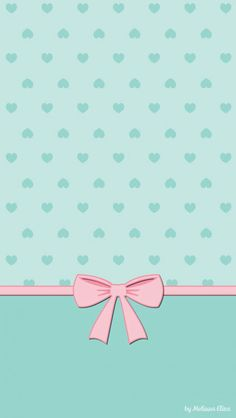 Blue Dots & Pink Bow Wallpaper