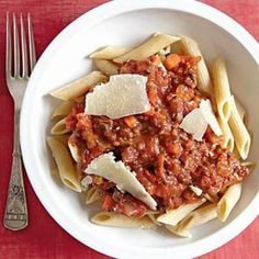 Vegetarian Bolognese with Whole-Wheat Penne | CookingLight.com
