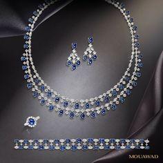 Mouawad blue sapphire sets