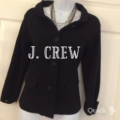 K- J Crew Cropped fitted Wool Jacket J Crew cropped fitted wool jacket with two front pockets in size small. Black, 100% wool J Crew Jackets & Coats