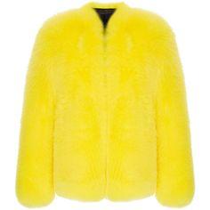 Fluorescent Fox Fur Jacket | Moda Operandi (€15.600) ❤ liked on Polyvore featuring outerwear, jackets, neon yellow jacket, fluorescent jacket, fox fur jacket, neon jacket and yellow jacket