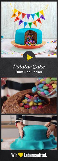 Unsere Piñata-Torte überrascht mit drei verschiedenen Schokoböden und vielen bunten Schokolinsen #pinatatorte #geburtstagstorte #backen #edeka Pinata Cake, Chocolate, Cake Recipes, Cake Decorating, Birthday Cake, About Me Blog, Baking, Breakfast, Desserts