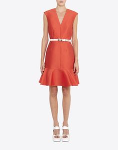 Robe sans manches satin rouge - Robe W - CARVEN