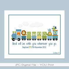 Kids personalized printable prayer wall art with childs name bible boys personalized train printable with bible verse baptism date birth info great for a baptism gift baby gift or the nursery negle Choice Image