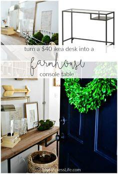 Ikea Hack: How to turn a basic Ikea Vittsjo Desk into a rustic farmhouse table/desk. MyFabulessLife.com