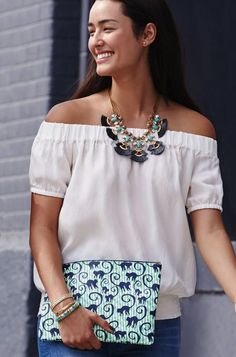 All In Pouch in Spearmint and Navy | Stella & Dot