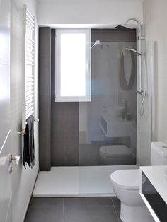 Bathroom renovation - Home Decor Narrow Bathroom, Grey Bathrooms, Bathroom Design Small, Bathroom Renos, Bathroom Layout, Bathroom Interior Design, Modern Bathroom, Bathroom Ideas, Bathroom Green