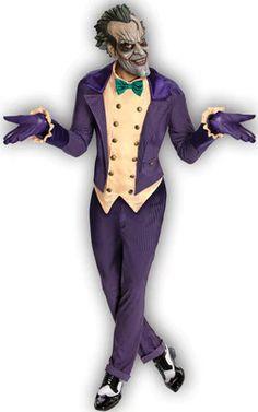 Men's Arkham City Joker Costume - Batman Arkham City Joker Adult Costume The Dark Knight's insane arch-nemesis! Costume includes: Purple jacket with pinstripes and attached vest . Marvel Halloween Costumes, Dc Comic Costumes, Halloween Villain, Batman Halloween, Villain Costumes, Halloween Outfits, Adult Costumes, Adult Halloween, Batman Costumes