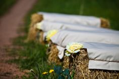 Hay bales for guest seating
