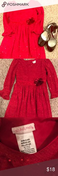 Red children's dress 😍 Apple 🍎 red dress great for church or the holidays. Worn only once and in perfect condition. Comes from smoke and pet free home. Youngland Dresses Formal