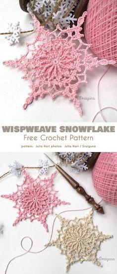 Wispweave Snowflake Free Crochet Pattern Underline Christmas magic by making the. Wispweave Snowflake Free Crochet Pattern Underline Christmas magic by making Crochet Snowflake Pattern, Crochet Motifs, Crochet Snowflakes, Thread Crochet, Crochet Crafts, Yarn Crafts, Crochet Projects, Knit Crochet, Crochet Doilies