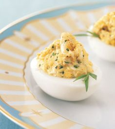 Don't look for the best egg recipe of all time anymore! Crab stuffed deviled eggs are all you could want in a unique and delicious appetizer for any occasion. Prawn Recipes, Egg Recipes, Seafood Recipes, Cooking Recipes, Diet Recipes, Snacks Recipes, Skinny Recipes, Easter Recipes, Cooking Ideas
