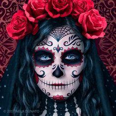 Santa Muerte face makeup detail by Nela Dunato