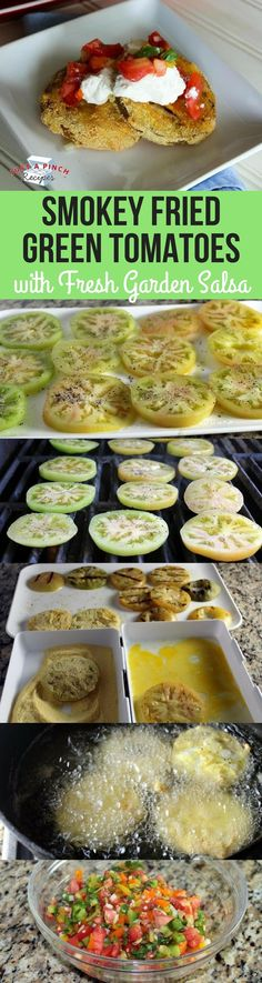 These are heavenly and perfect for summertime. By grilling the tomatoes first, it cooks them a bit before frying. This means they don't have to fry as long to achieve a perfect golden brown. Not oily, these fried green tomatoes have a wonderful crunch. The fresh salsa on top is the perfect accompaniment.