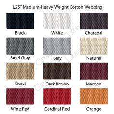 "1 Yard 1.25"" Medium Heavy Weight Cotton Webbing - 33 Colors to Choose"