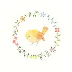 """Little Yellow Bird and Wreath"" −RiLi, picture book, illustration, design ___ ""黄色の小鳥と花の輪"" −リリ, 絵本, イラスト, デザイン ...... #bird #yellow #wreath #鳥 #黄 #花輪"