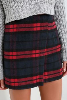 Printing Precious Red and Navy Plaid Mini Skirt