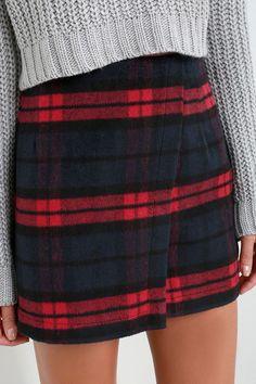 Printing Precious Red and Navy Plaid Mini Skirt