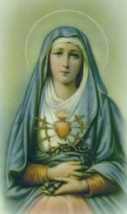Blessed Virgin Mary, her tears and dolors: The prophecy of Simeon, The flight into Egypt, The loss of the Child Jesus in the Temple, The meeting of Jesus and Mary on the Way of the   Cross, The Crucifixion, The taking down of the Body of Jesus from the Cross, The burial of Jesus.