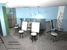 3D φωτορεαλιστική απεικόνιση - αίθουσα ελευθέρου σχεδίου.