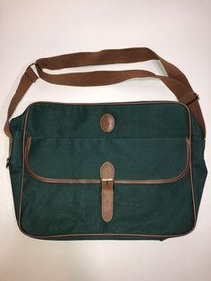 Vintage Polo Ralph Lauren Green Canvas   Brown Crossbody Messenger Shoulder  Bag  fashion  clothing 5aedb0f72c5dd