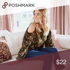 ❗️Last 1❗️NEW LC Lauren Conrad Cold Shoulder Top *More photos coming very soon!  Brand: LC Lauren Conrad  Color: Dark green with shades of pink flowers  Size: Large  MSRP: $44 LC Lauren Conrad Tops Blouses