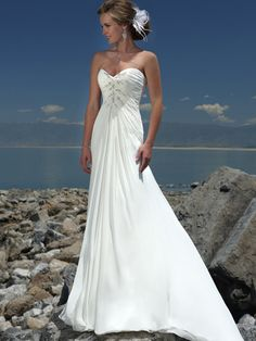 Sweetheart with Elegant Pleating and Beading Sweep Train Beach Chiffon Wedding Dress