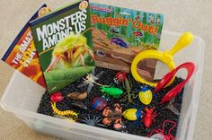 """""""Whats in the Tub?"""" Variation on the rice tub or water tub. Black beans as """"dirt"""" to hide bugs; shaving cream as """"snow"""" to play with Christmas/Winter items; Bag of corn/seed feed with Thanksgiving toys/playthings"""