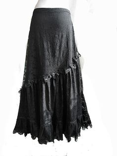 Skirt Alicante, victorian mourning, steampunk noir, edwardian, black lace, Somnia Romantica by Marjolein Turin. $159.00, via Etsy.