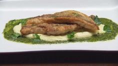 Pan Seared Flathead with Potato Puree and Salsa Verde