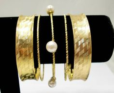 Gold Plated Indian Bangle Set with Handmade Big Pearl Wrapped Bracelets. Wholesale Elegant Pear Jewelry. Exaggerative Designed $3.55