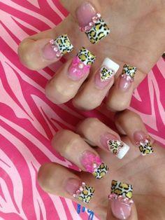 Cheetah Print Acrylic Nails | : Acrylic nails images , Acrylic , Acrylic Nails , Half animal print ...