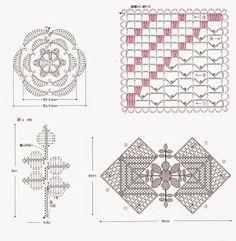 ergahandmade: Lace crochet square with flower + diagrams Filet Crochet, Crochet Stitches Chart, Crochet Doily Diagram, Crochet Motif Patterns, Crochet Squares, Irish Crochet, Crochet Doilies, Crochet Flowers, Crochet Books