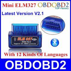 2016 Mini ELM327 ELM 327 Bluetooth V2.1 OBD2 OBDII Alat Diagnostik Untuk Android Torsi Mobil Kode Scanner Multi-bahasa Kapal gratis