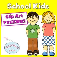 Free clip art of a school boy and girl for personal or commercial use. Please…