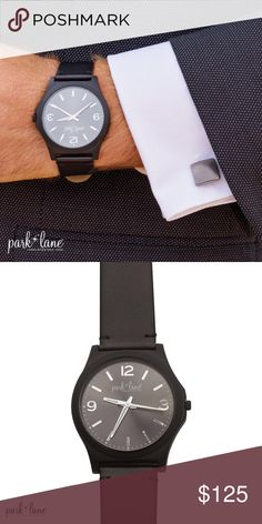"""LIAM WATCH LIAM WATCH  For the discriminating gentleman or the on-trend woman who is in search of the perfect """"menswear-look"""", LIAM offers a matte black simulated leather wristband and a bold, gunmetal gray watch face. 9 ¼ inches Park Lane Jewelry Bracelets"""