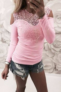 Women shirts Long Sleeve Lace Patchwork blouses shirts Cold shoulder Women Tops Plus Size Blusas Shirts Femininos Off Shoulder Tops, Cold Shoulder, Discount Designer Clothes, Blouse Styles, Casual Fall, Fashion Outfits, Fashion Trends, Style Fashion, Womens Fashion