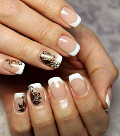 French decor, French manicure, French manicure decoration, french manicure news 2016, French manicure with gold, French manicure with pattern, French patterned manicure, French with drawing