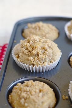 Chai Coffee Cake Muffins - A flavorful spin on a classic breakfast favorite. Coffee cake muffins flavored with chai spices and topped with a delicious crumb topping! Bite Size Breakfast, Yogurt Breakfast, Breakfast Buffet, Best Breakfast, Muffin Recipes, Brunch Recipes, Chai Recipe, Coffee Cake Muffins, Dessert For Two