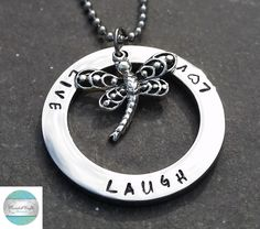 Hand Stamped Circle Silver Pendant with sterling dragonfly & Necklace, Message shown or Personalise to suit. made to order. by CoorabellCrafts on Etsy