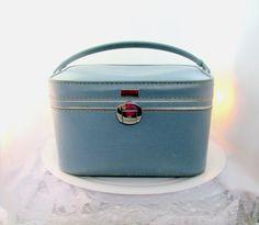 #Vintage #VogueTeam  Train Travel Case Frost Blue Signed Amelia Earhart Storage Case Wedding Bridal Case Collectible Item 1582