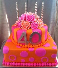 40th Birthday Cake - love the orange, but think it should be lime green instead of pink :)