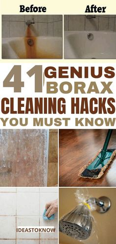 Borax is an awesome home cleaner with so many cleaning hacks it has. Do you know what you can do with a box of borax! Here are more than 40 uses for borax in your home. Borax is a great green cleaner that will clean house naturally. Borax Cleaning, Bathroom Cleaning Hacks, Household Cleaning Tips, Cleaning Day, Diy Cleaning Products, Deep Cleaning, Spring Cleaning, Cleaning Solutions, Household Cleaners