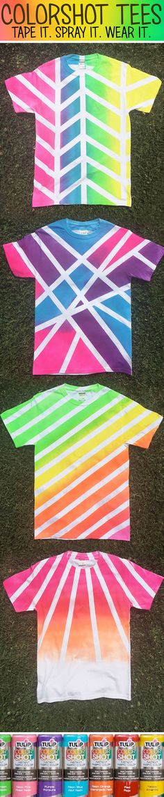 Cool shirts made with Tulip ColorShot and tape! Hoco Shirts ideas of Hoco Sh - Hoco Shirts - ideas of Hoco Shirts - Cool shirts made with Tulip ColorShot and tape! Hoco Shirts ideas of Hoco Shirts Cool shirts made with Tulip ColorShot and tape! Cute Crafts, Crafts For Kids, Arts And Crafts, Diy And Crafts, Ty Dye, Fabric Spray Paint, Tie Dye Crafts, Diy Vetement, How To Tie Dye